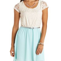 Belted Chiffon & Lace Color Block Dress