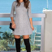 Gray Knit Sweater Dress