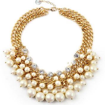 Blossom Pearls Statement Necklace