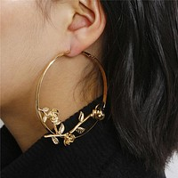 Exaggerated Big Round Love Rose Hoop Earrings Jewelry for Women Statement Gold Color Dangle Earrings Female Gifts