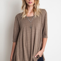 A-Line Knit Top - Taupe