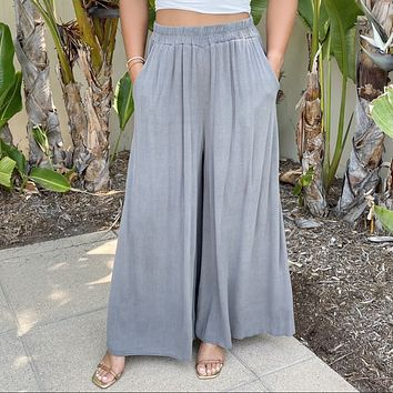 Light As A Feather Charcoal Grey Wide Leg Palazzo Pants