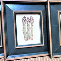 Wood Framed Art Prints Kitchen Wall Decor Hanging Pepper Peas Asparagus blm