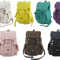 Grils Student Canvas Backpack Back to School Bag MUST HAVE 7Colors