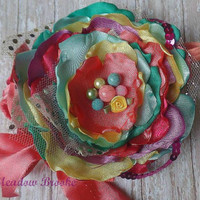 BABY HEADBAND, toddler girl, m2m, Matilda Jane, Easter, candy, coral, yellow, mint, purple, clip, rose, shabby, couture, birthday, rainbow