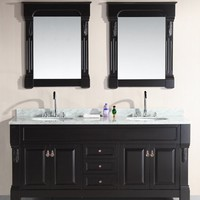 Design Element Marcos Double Sink Vanity Set with Carrara White Marble Countertop, 72-Inch