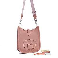 Hermes Fashion Ladies Solid Color Lychee Pattern Crossbody Bag