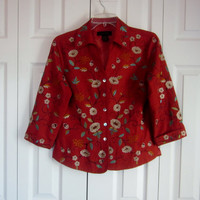 Vintage Silk Jacket, Lined Silk Fitted Top, Womens S Small, Brick Red, Machine Embroidered Floral, Flowers and Leaves, Silkland