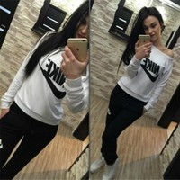 """Nike"" Women Casual Letter Print Long Sleeve Trousers Set Two-Piece  Sportswear"