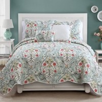 5 Pc Multi, Floral Quilt Set, King Size Coverlet, By Karalai Bedding Collection