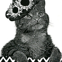 Female Cat flower hat original art print ink pets animal kids nursery room wall