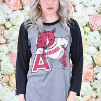 "Vintage Arkansas Hog Leaning on ""A"" Raglan {Vintage Black+H.Grey} - Size LARGE"