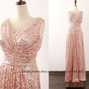 Rose Gold Sequin Bridesmaid Dress, Sraps V Neck Prom Gown, Floor Length Sequined Formal Dresses,  Champagne Wedding Party Dress