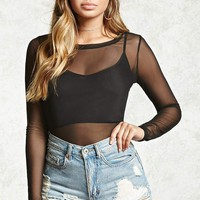 Sheer Mesh Twofer Top