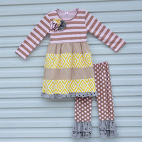 Fall Winter Baby Boutique Outfits Spring Dresses Cotton Leggings Geometric Stripe Dots Pattern Children Girls Clothing Sets F081