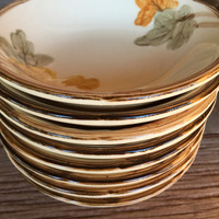 Vintage Franciscan ware dishes October pattern, Franciscan fruit berry bowls, Thanksgiving table fall leaf dishes, Gladding Mc Bean pottery
