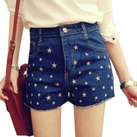 Zehui Girl's High-Waisted Jeans Shorts Denim Stars Print Short Pants Trousers