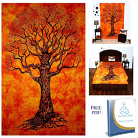 Your Spirit Space (TM) Orange Tree of Life Tapestry- Good Luck. Quality For Home or Dorms Psychedelic Hippie Islamic Asian Contemporary Canvas Wall Hanging Art The Ultimate Bohemian Tapestry Decor