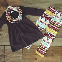 Brown Aztec Tribal 3 Piece Winter Boutique Outfit