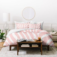Natalie Baca Zebra Stripes Rose Quartz Duvet Cover