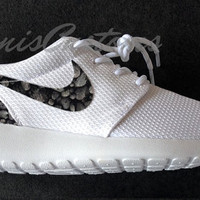 Nike Roshe Run One White Custom Black Stones Print