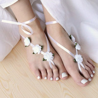 White barefoot wedding sandles with satin ribbon flowers Boho beach sandles Victorian nude shoes Yoga anklet jewelry Hippie toe thongs