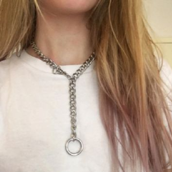 """27"""" silver metal chain drop necklace adjustable punk gothic"""
