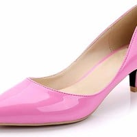 Kitten Heels for Women Classic Slip on Pointed Toe Dress Pumps Shoes
