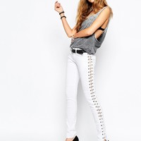 Tripp Nyc Low Rise Skinny Jeans With Boho Festival Lace Up Side Detail