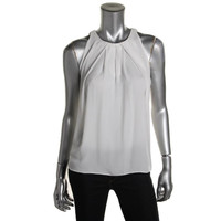 Vince Camuto Womens Pleated Scoop Neck Blouse