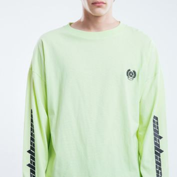 Sleeve print letters men's T-shirt with long sleeves and round collar [4166119653412]