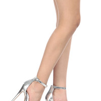 Silver Faux Leather Ankle Strap Platform Heels