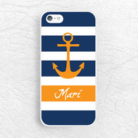 Navy Striped Anchor Monogram Phone Case for iPhone 6 5 4, Sony z1 z3 compact, LG g2 g3 nexus 6, HTC One m7 m8 personalized name custom case