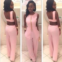 Elegant Jumpsuit Plus Size One Piece Women Jumpsuits Rompers 2016Pink Coveralls Summer Bandage Sexy Backless Long Pants Playsuit