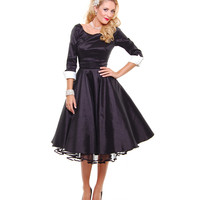 The Donna Reed Black 1950's Style Scoop Neck, Full Skirted Dress With Contrast Sleeve Cuffs - Unique Vintage - Prom dresses, retro dresses, retro swimsuits.