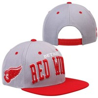 Zephyr Detroit Red Wings Super Star Snapback Hat - Gray/Red