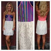 Blue & Pink Stripe with Lace Sophia Dress