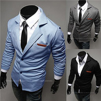Leather Tab Pocket Notched Lapel Slim Fit Casual Blazer