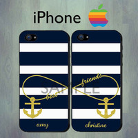 Nautical Best Friends Blue Stripe iPhone case - iPhone 4 case or iPhone 5 case - Personalized Gold Anchor iPhone Case, Two Case Set