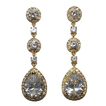 Amberly Pear Chandelier Earrings | 18k Gold | 57mm