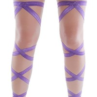 Pair of RaveReady Purple Elastic Ribbon Leg Wraps : Rave Fluffies Wraps