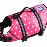 Fido Pet Products Paws Aboard Doggy Life Jacket, Small, Pink Polka Dot