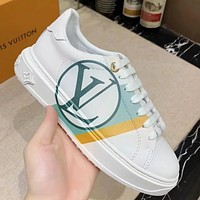 Lv Shoes Women Men Flat Louis Vuitton White Shoes Green