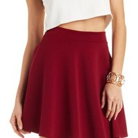 Burgundy Ribbed Skater Skirt by Charlotte Russe