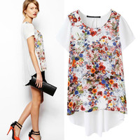 New Hot Fashion Womens Casual Blouse Short Foever21 Like Sleeve Shirt T shirt Summer Blouse Tops = 4722200772