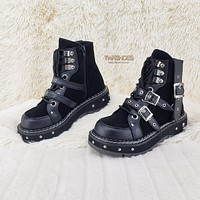 Lilith 278 Black Vegan Suede & Leather Buckle Strap Ankle Boot 6-12