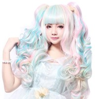 MapofBeauty Multi-color Lolita Long Curly Clip on Ponytails Cosplay Wig (Pink/ Blue/ Blonde)