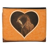 Mother Giraffe and Baby Orange Heart Leather Trifold Wallets