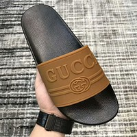 GUCCI 2019 new three-dimensional LOGO rubber men's casual word slippers sandals brown