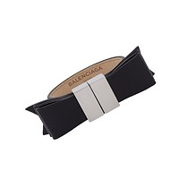 Balenciaga Black Bow Leather Bracelet Silver Hardware 341461